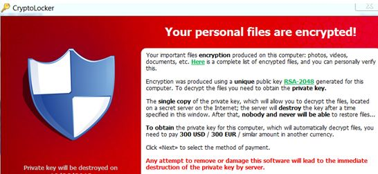 CryptoLocker is a new, bad virus that destroys your data.